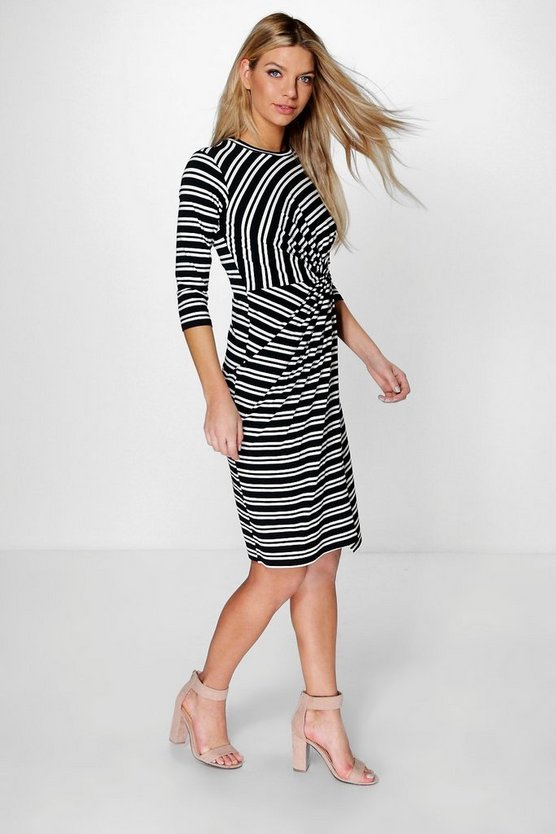 Marice Knotted Stripe Midi Dress