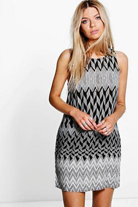 Katya Mono Printed Sleeveless Shift Dress