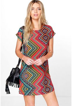 Jamie Cap Sleeve Printed Shift Dress