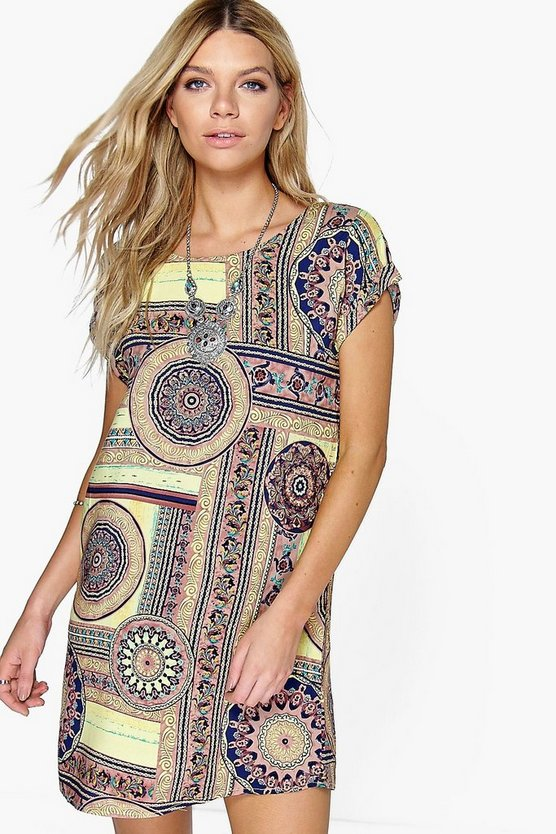 Polly Cap Sleeve Printed Shift Dress