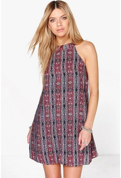 Rose Halter Neck Printed Shift Dress