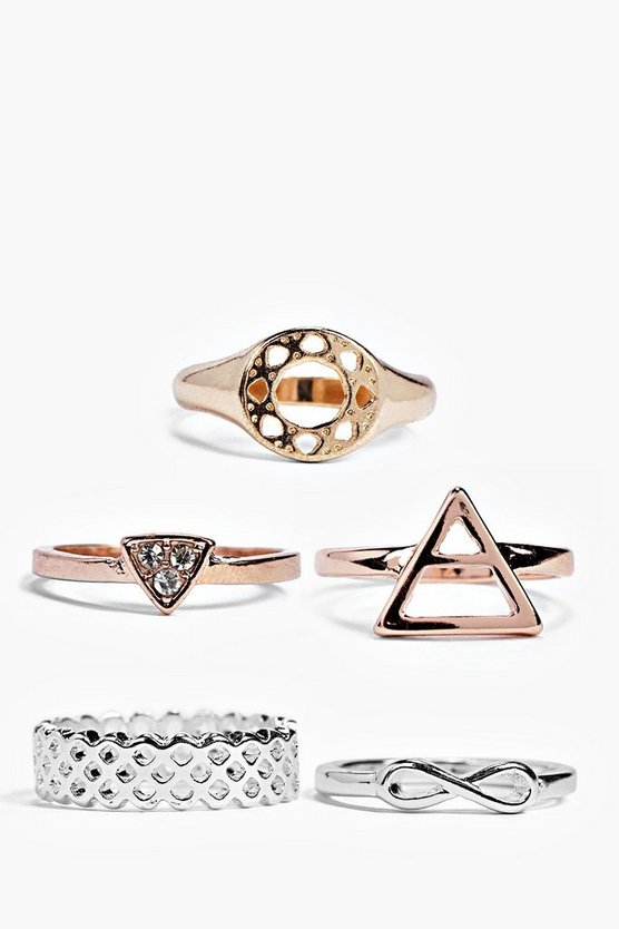 Lydia Mixed Metal 5 Piece Ring Pack
