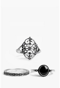 Maria Silver 3 Pack Ring Set
