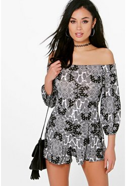 Lucy Off The Shoulder Paisley Playsuit