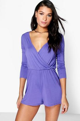 Jenny Wrap Over Jersey Playsuit