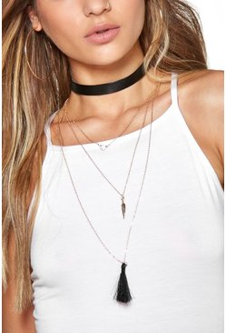 Lacey Tassel And Choker Layered Necklace