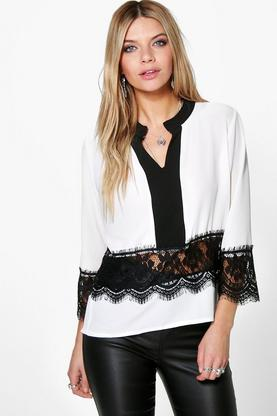 Tammy Crochet Trim Contrast Collar Edge Shirt