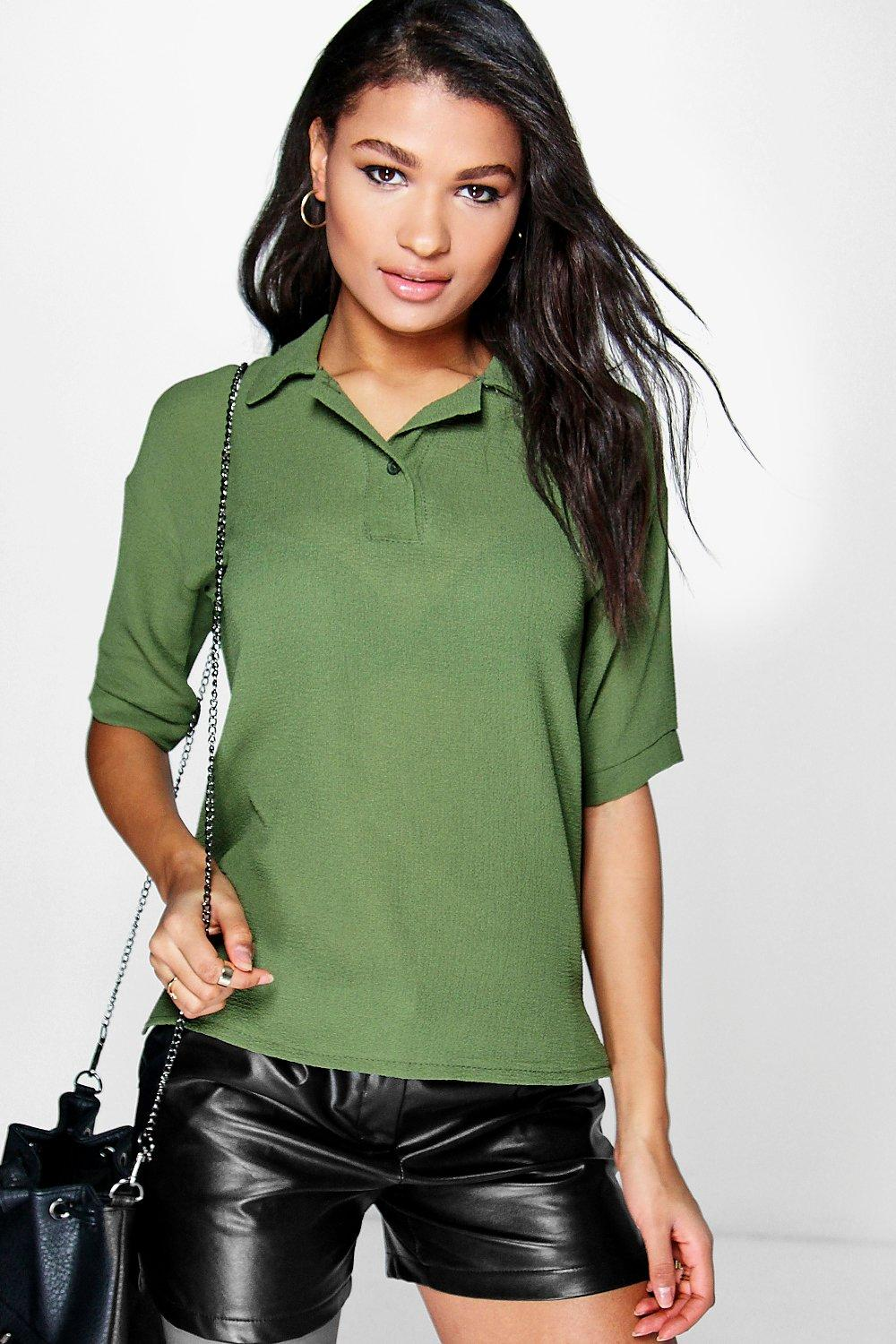 Rita Textured Woven Polo Shirt