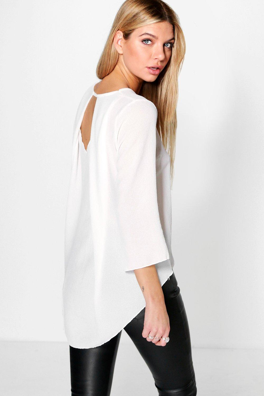 Laura Woven Textured Pleat Back Top
