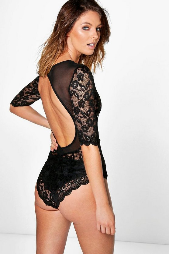 Mandy Lace Panel Open Back Premium Body