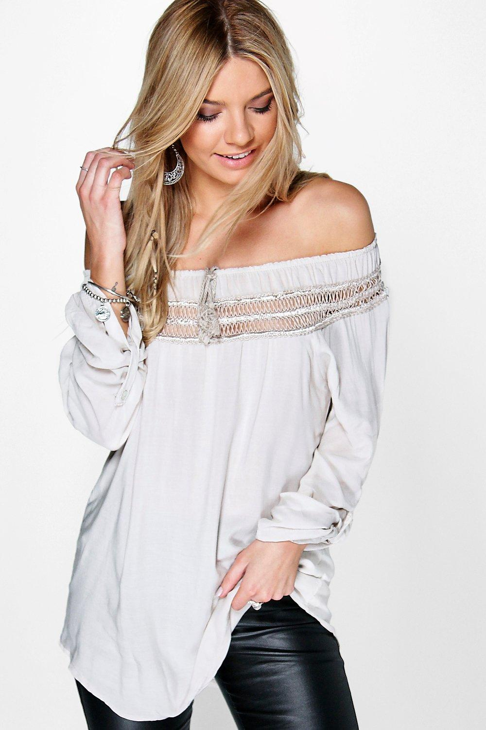 Maisie Crochet Off The Shoulder Tie Woven Top