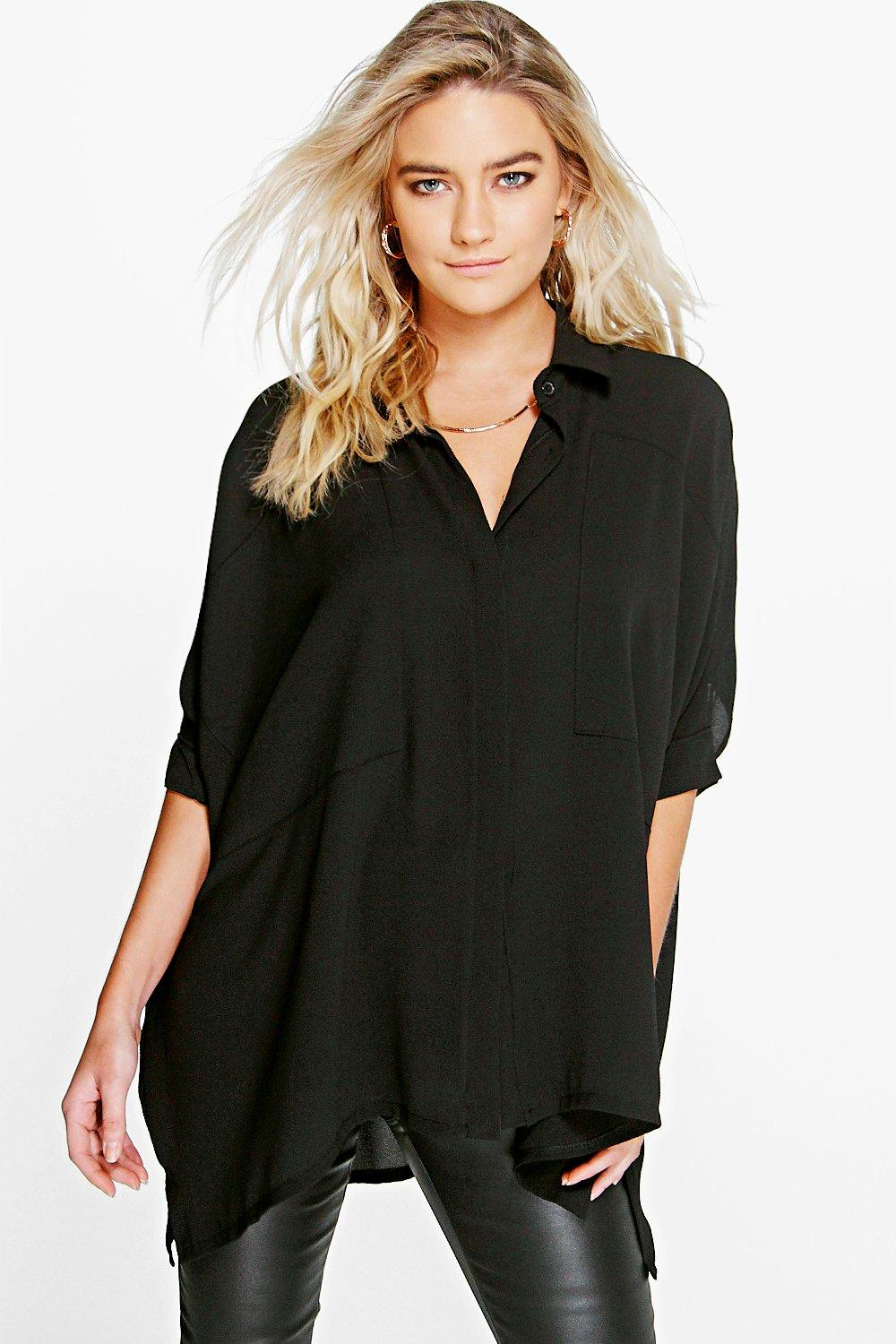 Cat Oversized Panel Detail Batwing Shirt