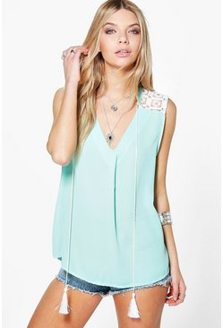 Patrice Embroidered Tie Front Woven Top