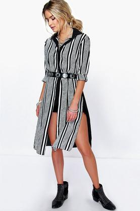 Flora Stripe Front Woven Split Side Tunic Shirt