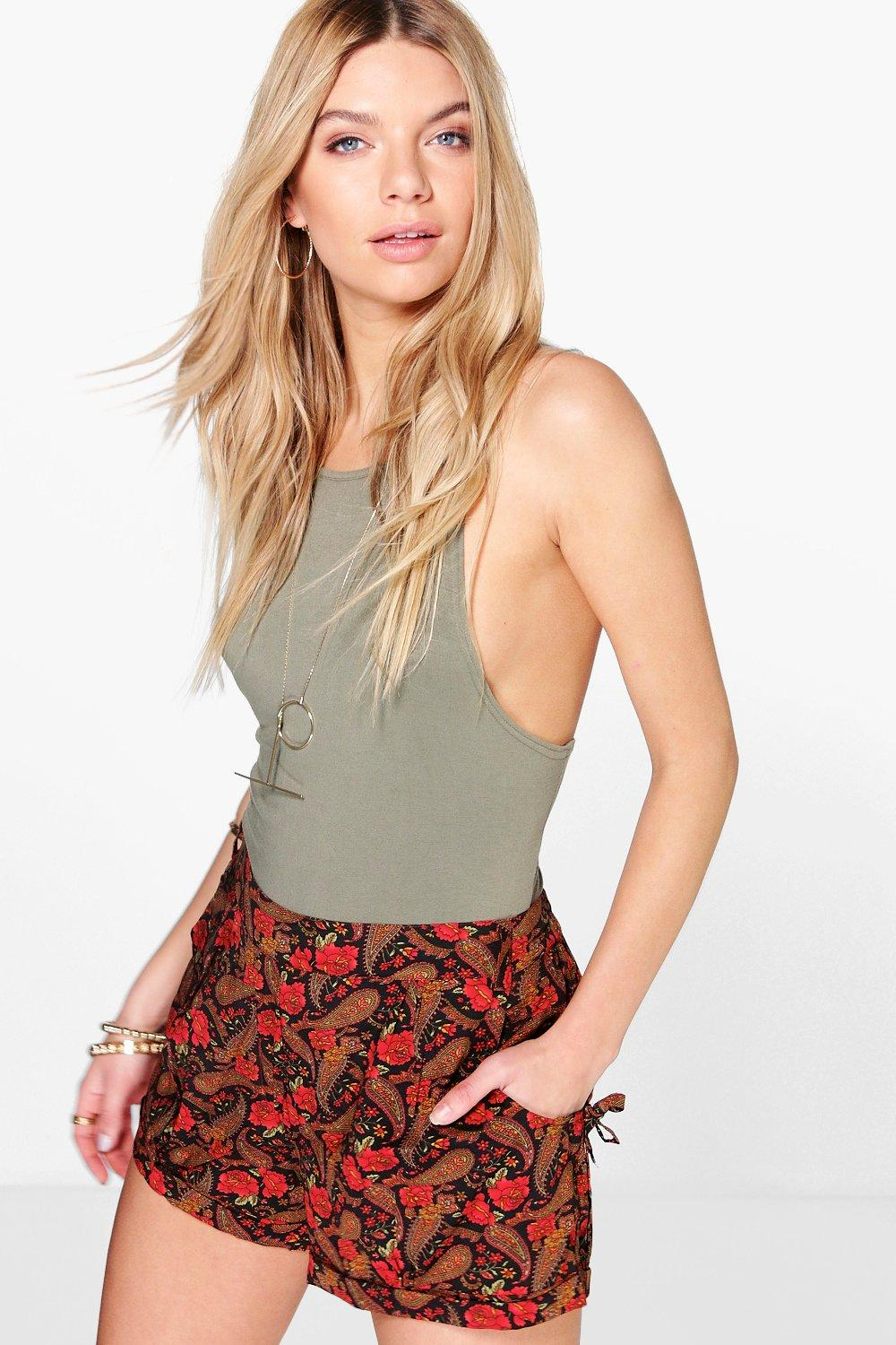 Mia Floral Print Tie Side Shorts