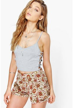 Ena Tie Side Printed Shorts