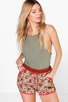 Ria Floral Print Contrast Binding Shorts