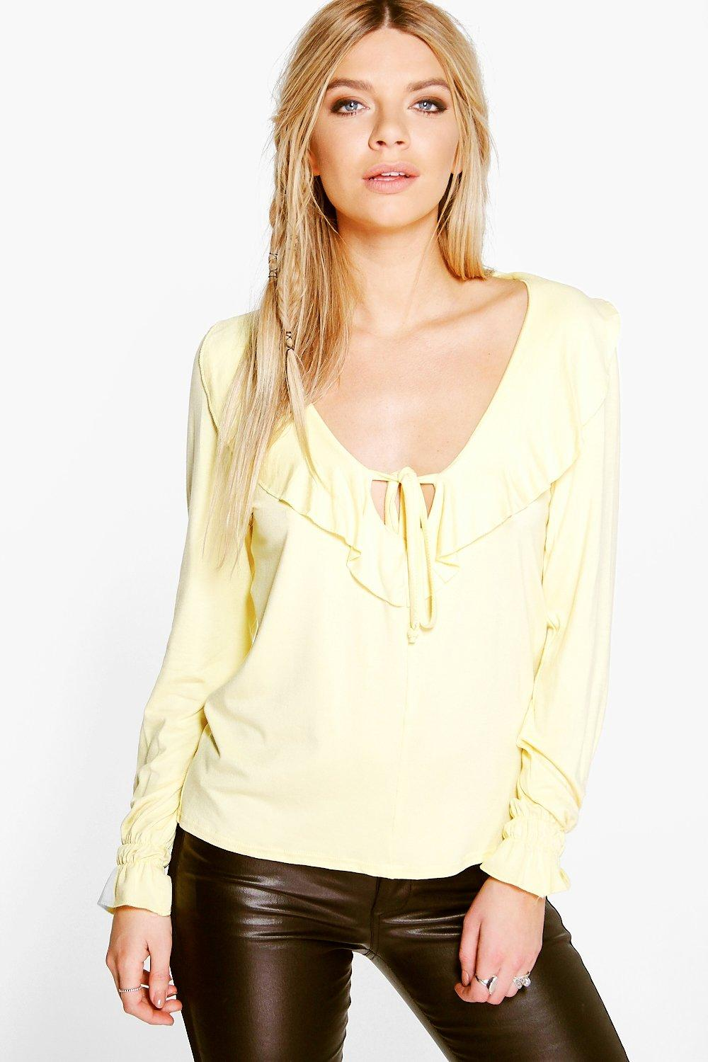 Mandy Tie Front Frill Long Sleeve Top