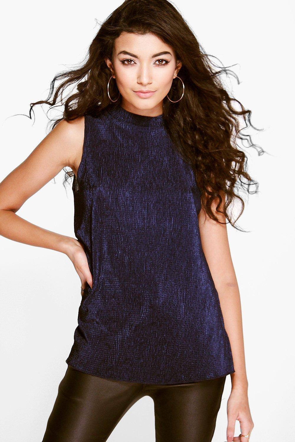 Cara Crinkle Pleat Turtle Neck Cami