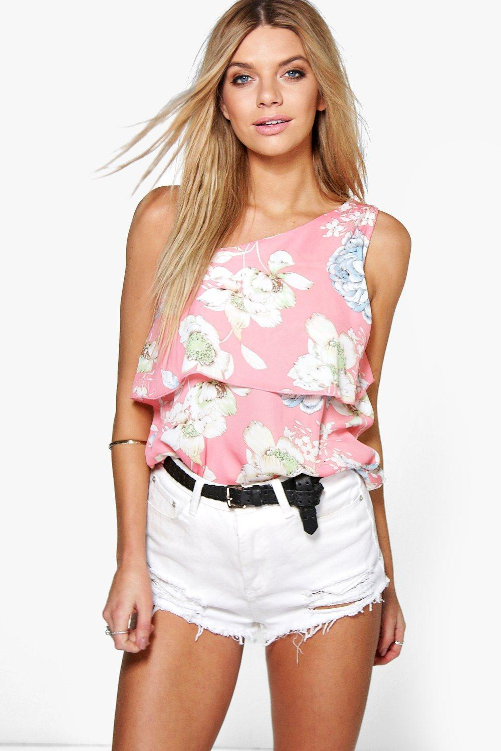 Evie Woven Printed One Shoulder Top