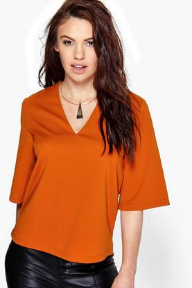 Lily Woven V Neck Top