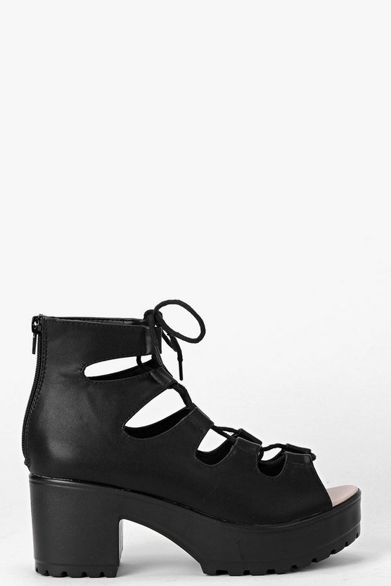 Julia Cleated Peeptoe Lace Up Sandals