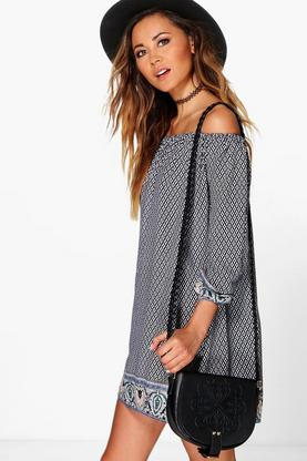 Laureen Paisley Hem Cold Shoulder Shift Dress