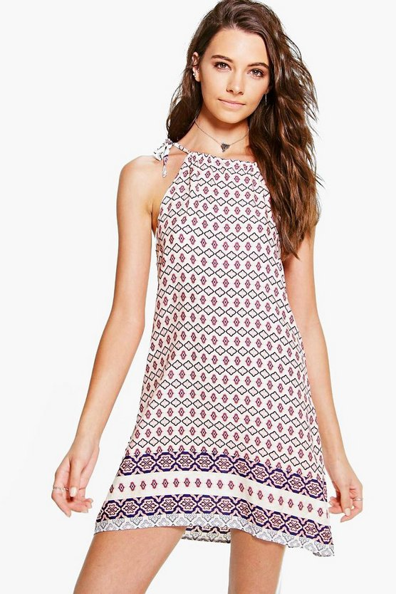 Alinna Border Hem Print Strappy Swing Dress