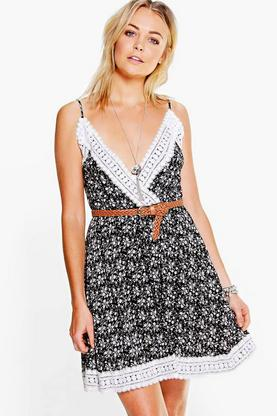 Miriam Lace Trim Floral Wrap Skater Dress