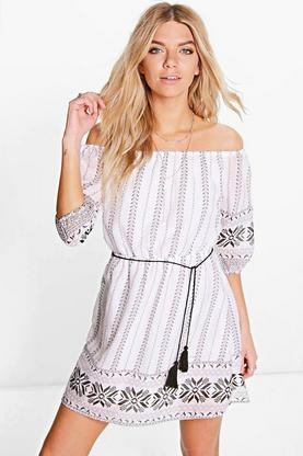 Nina Border Print Off The Shoulder Skater Dress