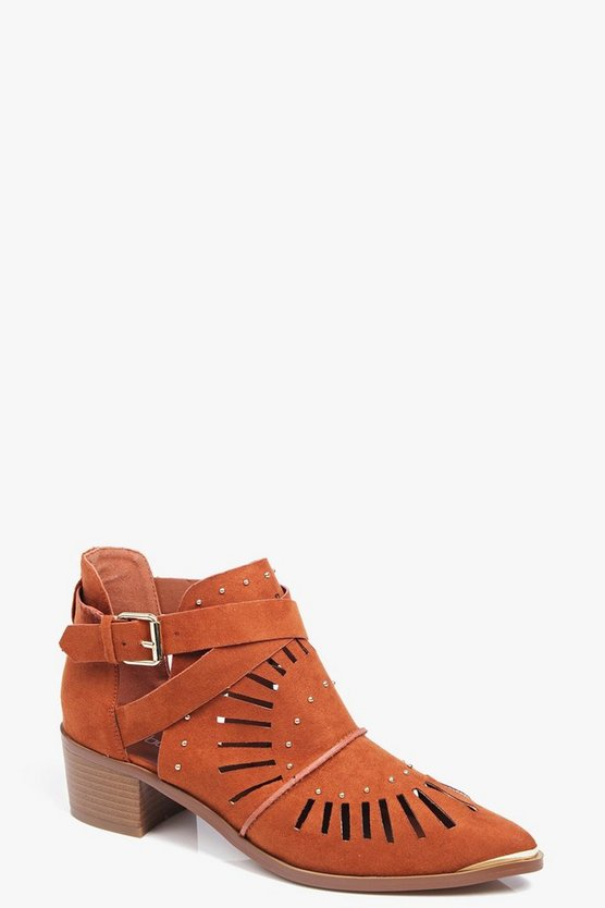 Robyn Laser Cut And Stud Pistol Boot