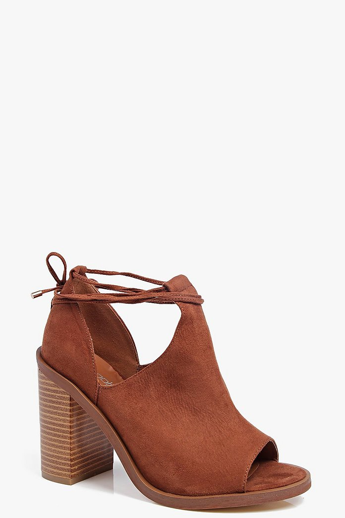 Eva Peeptoe Wrap Strap Block Heel Shoe Boot