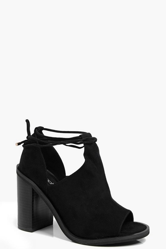 Ava Peeptoe Wrap Strap Block Heel Shoe Boot