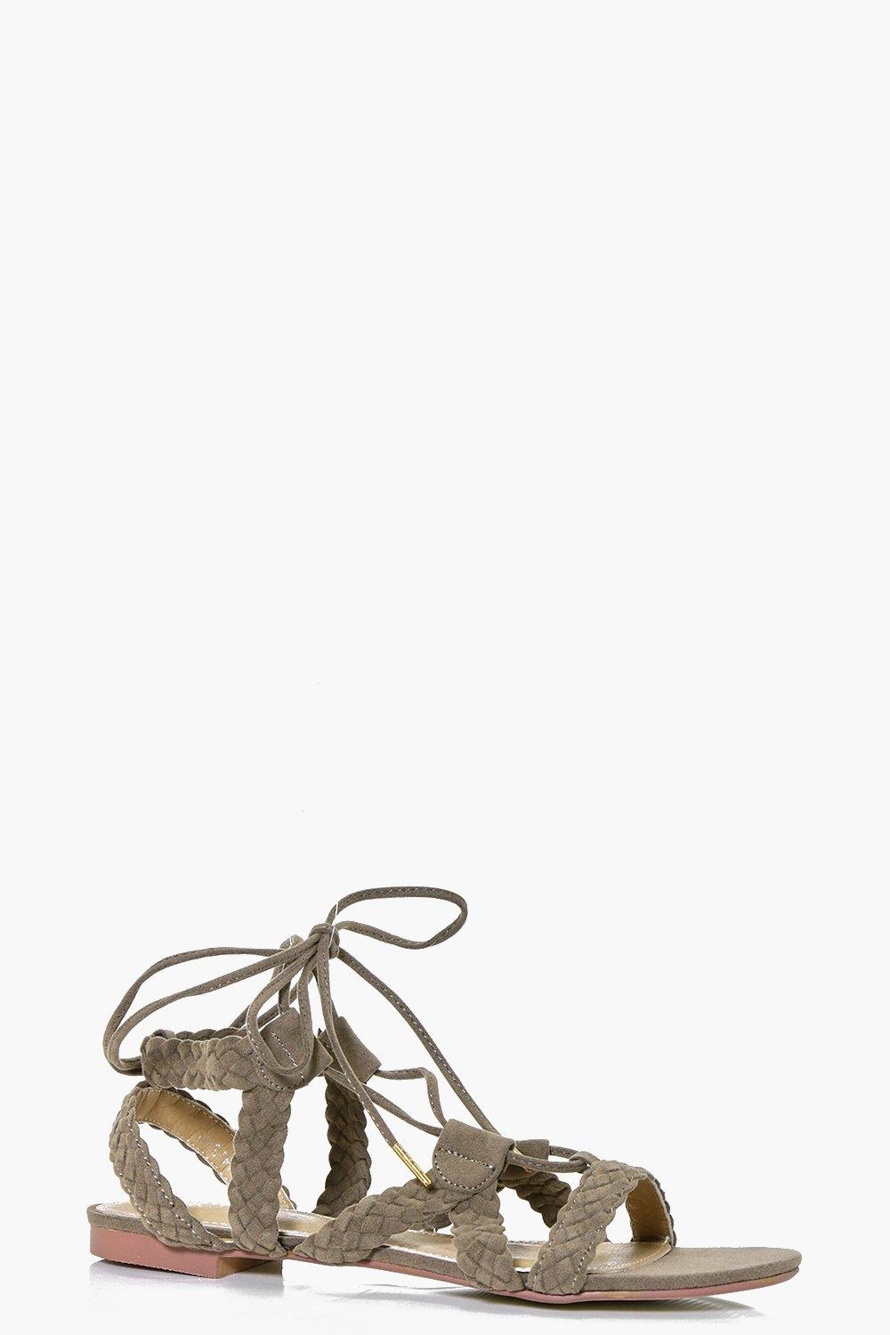 Victoria Plaited Lace Up Sandal