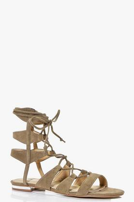 Darcy Lace Up Flat Sandal