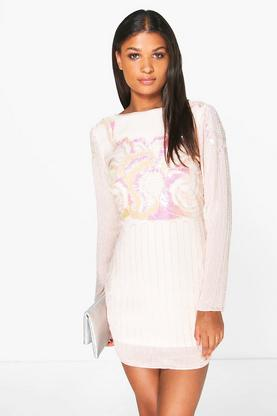 Boutique Tam All Over Hand Embellished Shift Dress