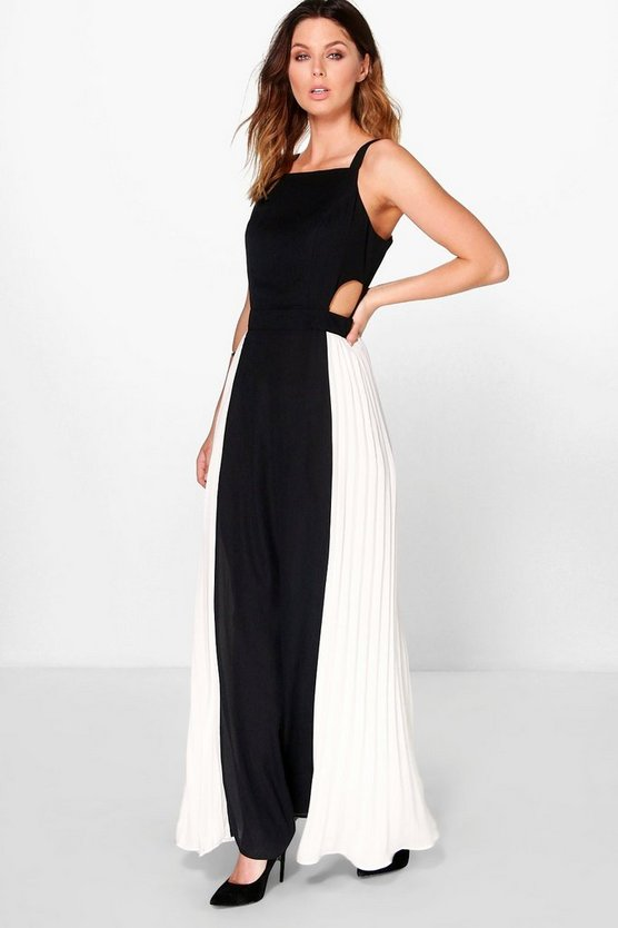 Boutique Tiao Pleated Colour Block Maxi Dress