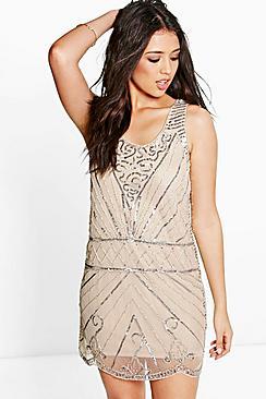 1920s Dresses for Sale Boutique Suravi All Over Embellished Shift Dress $54.00 AT vintagedancer.com