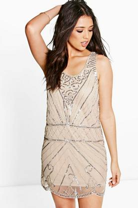 Boutique Suravi All Over Embellished Shift Dress