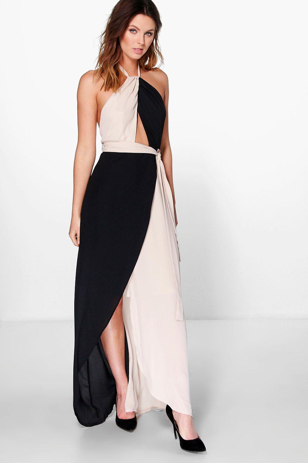 Kicho Contrast Colour Halter Chiffon Maxi Dress