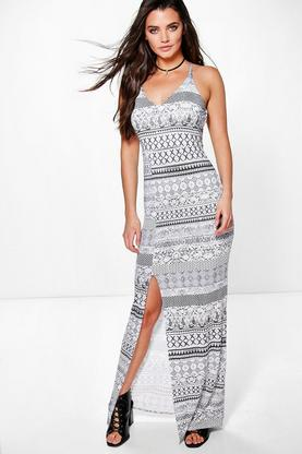 Sophina Ethnic Printed Strappy Back Maxi Dress