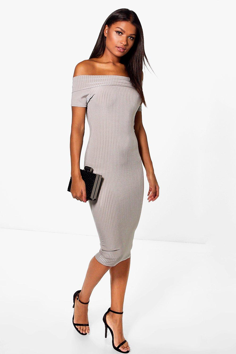 Savannah Off The Shoulder Ribbed Midi Dress