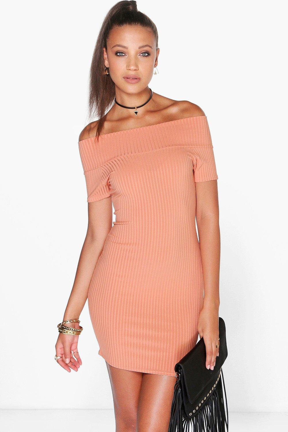 Selena Off Shoulder Ribbed Mini Bodycon Dress
