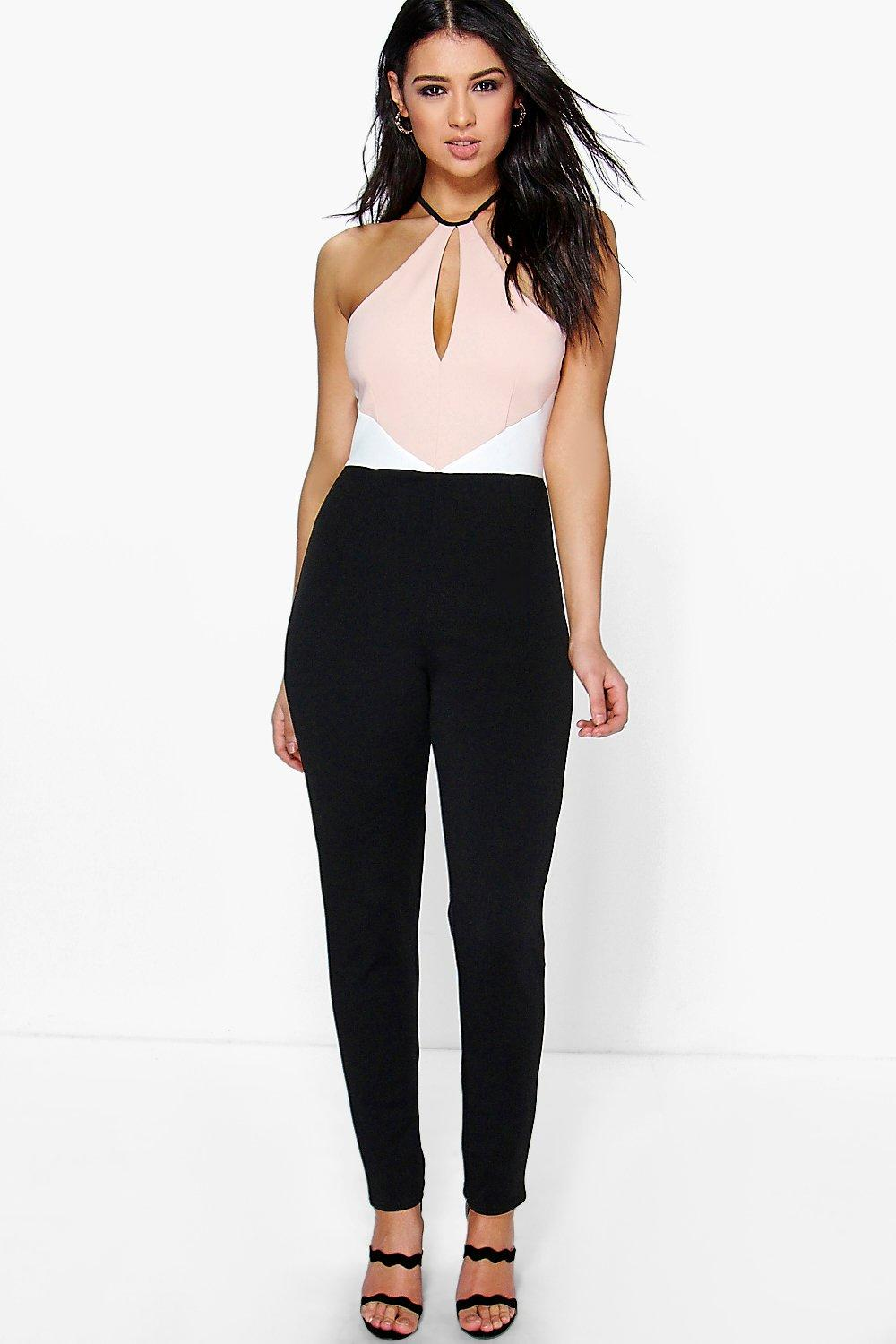 Lola Cut Away Shoulder Colour Block Jumpsuit