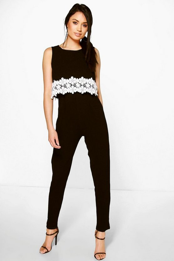 Lois Crochet Floral Trim Double Layer Jumpsuit