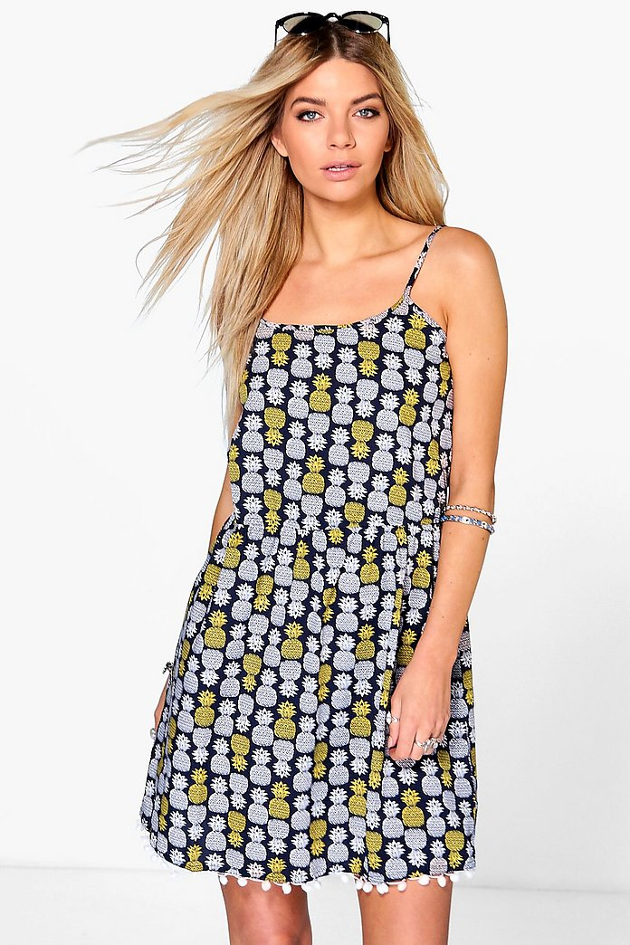 Veronica Pinapple Print Strappy Dress