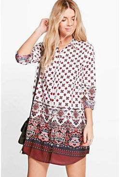 Blanca Border Print Shirt Dress