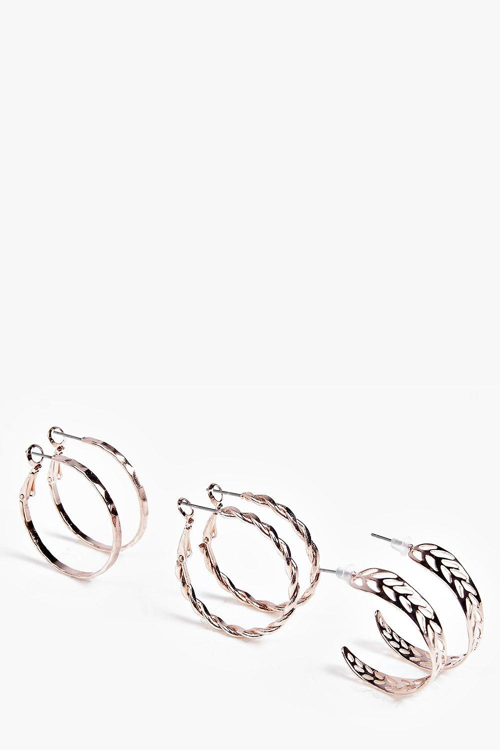 Eva Rose gold Ornate Hoop Earring 3 Pack