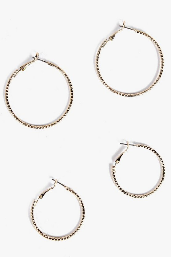 2 Pack Twist Hoop Earring Set