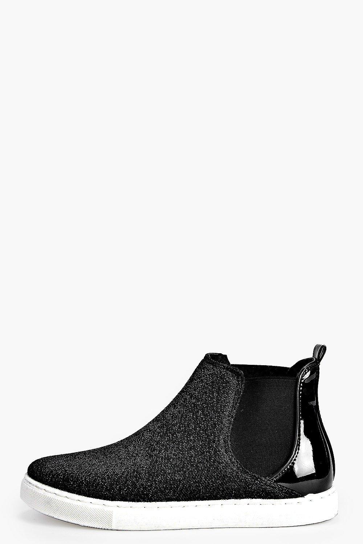 Shimmer Elastic Insert Skater Boot black